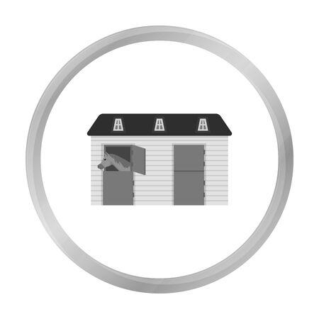 horse care: Horse stable icon in monochrome style isolated on white background. Hippodrome and horse symbol stock vector illustration.
