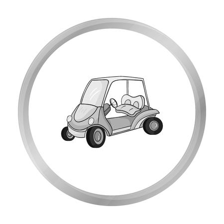 Icône de voiturette de golf dans le style monochrome isolé sur fond blanc. Illustration de vecteur stock symbole club de golf. Vecteurs