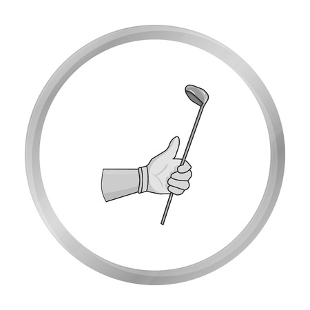 Holding of a golf club icon in monochrome style isolated on white background. Golf club symbol stock vector illustration. Illustration