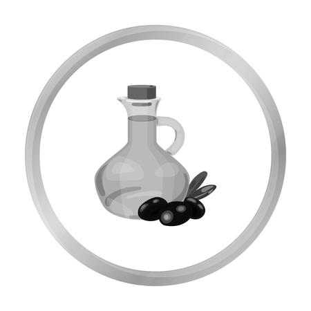 Olive oil bottle with monochrome olives icon in monochrome style isolated on white background. Greece symbol stock vector illustration. Illustration