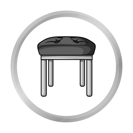 wooden stool: Stool icon in monochrome style isolated on white background. Furniture and home interior symbol stock vector illustration. Illustration