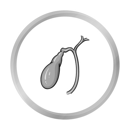 cystic duct: Human gallbladder icon in monochrome style isolated on white background. Human organs symbol stock vector illustration.