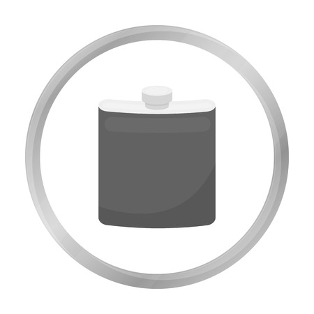 hip flask: Hip flask icon in monochrome style isolated on white background. Hunting symbol stock vector illustration. Illustration
