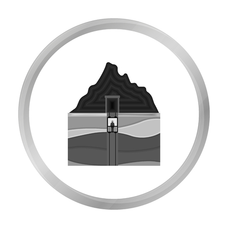 Mine shaft icon in monochrome style isolated on white background. Mine symbol stock vector illustration. Illustration