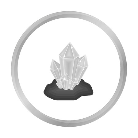 Crystals icon in monochrome style isolated on white background. Mine symbol stock vector illustration.