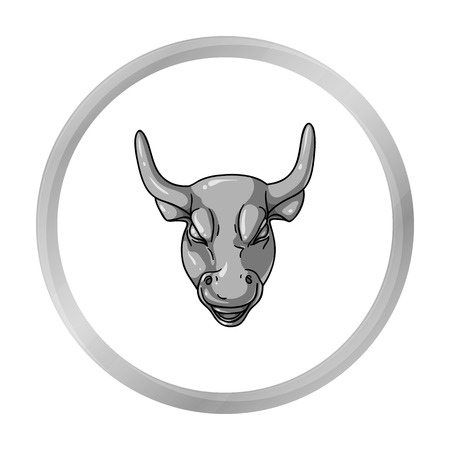 Golden Charging Bull icon in monochrome style isolated on white background. Money and finance symbol stock vector illustration. Illustration