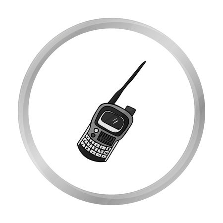 transmit: Handheld transceiver icon in outline style isolated on white background. Paintball symbol stock vector illustration.