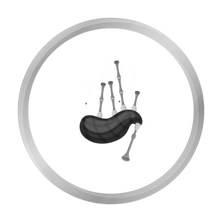 gaita: icono de la gaita en estilo blanco y negro sobre fondo blanco. Instrumentos musicales ilustración vectorial símbolo de la acción Vectores