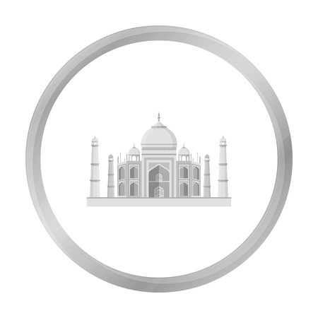 jehan: Taj Mahal icon in monochrome style isolated on white background. India symbol stock vector illustration. Illustration