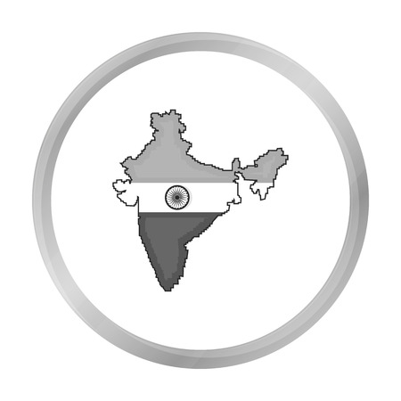 Indian territory icon in monochrome style isolated on white background. India symbol stock vector illustration. Illustration