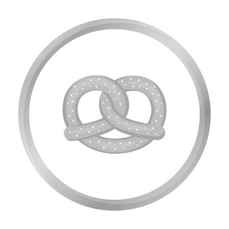 bretzel: Pretzel icon in monochrome style isolated on white background. Oktoberfest symbol stock vector illustration.