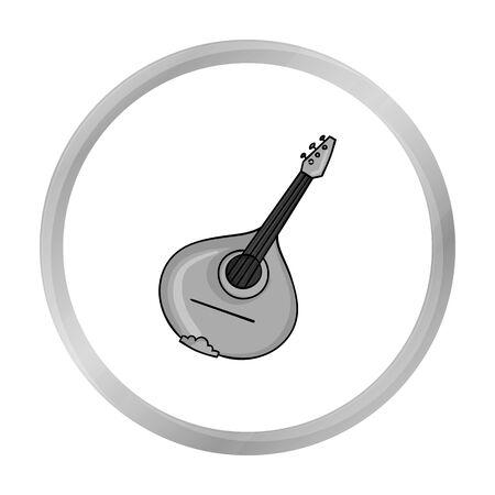 Italian mandolin icon in monochrome style isolated on white background. Italy country symbol stock vector illustration. Illustration