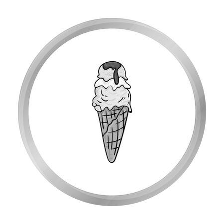 gelato: Italian gelato icon in monochrome style isolated on white background. Italy country symbol stock vector illustration.