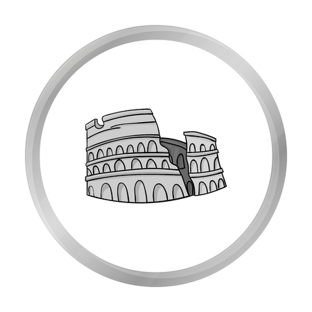 flavian: Colosseum in Italy icon in monochrome style isolated on white background. Italy country symbol stock vector illustration. Illustration