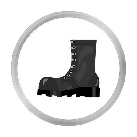 Army combat boots icon in monochrome style isolated on white background. Military and army symbol stock vector illustration