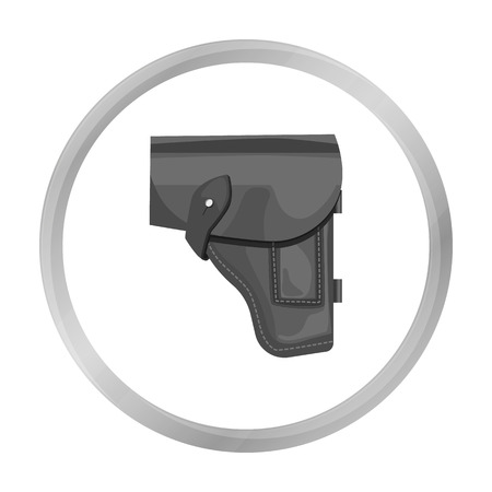 holster: Army handgun holster icon in monochrome style isolated on white background. Military and army symbol stock vector illustration