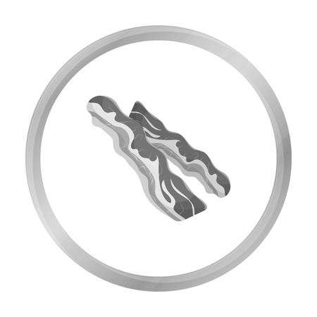 carnes: Bacon icon in monochrome style isolated on white background. Meats symbol stock vector illustration