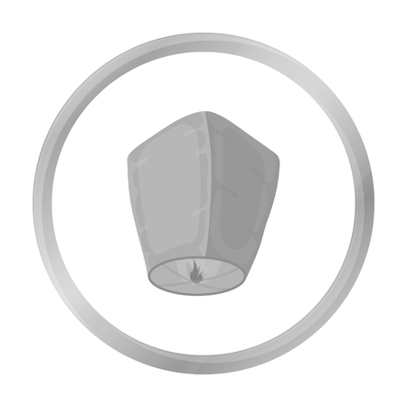 Sky lantern icon in monochrome style isolated on white background. Light source symbol stock vector illustration