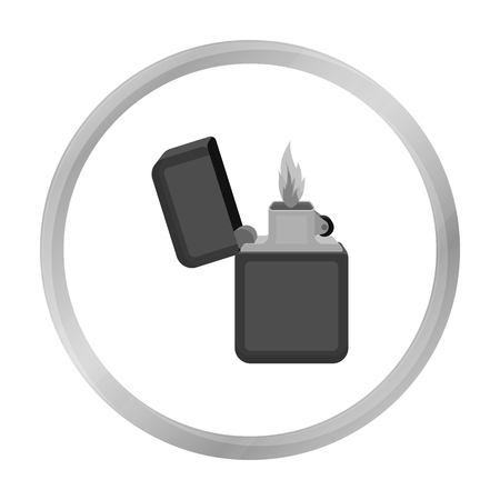 gas lighter: Lighter icon in monochrome style isolated on white background. Light source symbol stock vector illustration