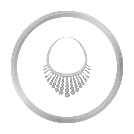 diamond necklace: Necklace with diamond icon in monochrome style isolated on white background. Jewelry and accessories symbol stock vector illustration.
