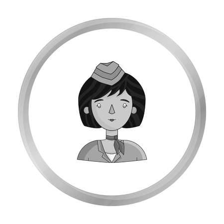 Stewardess icon in monochrome style isolated on white background. People of different profession symbol stock vector illustration. Illustration