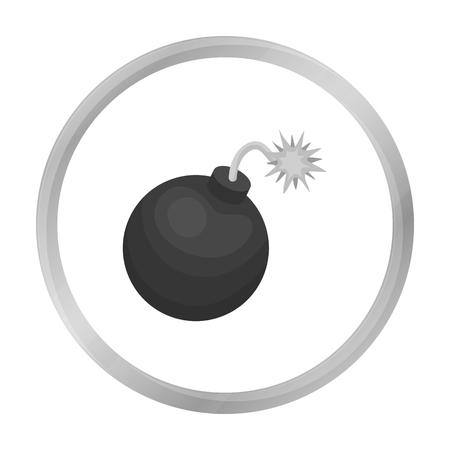 granade: Pirate grenade icon in monochrome style isolated on white background. Pirates symbol stock vector illustration.