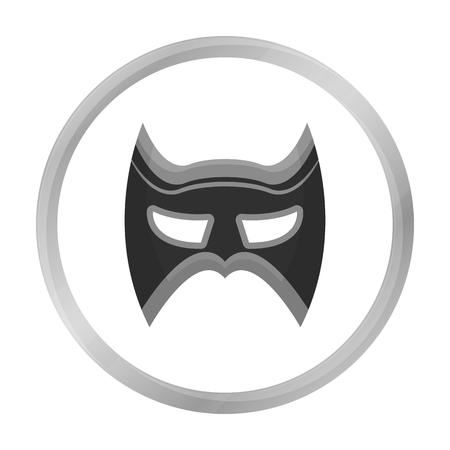 Eye mask icon in monochrome style isolated on white background. Superheros mask symbol stock vector illustration.
