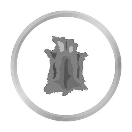 hide: Animal hide icon in monochrome style isolated on white background. Stone age symbol stock vector illustration.