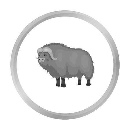 Muskox of stone age icon in monochrome style isolated on white background. Stone age symbol stock vector illustration.