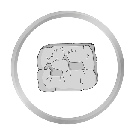 ?ave painting icon in monochrome style isolated on white background. Stone age symbol stock vector illustration.