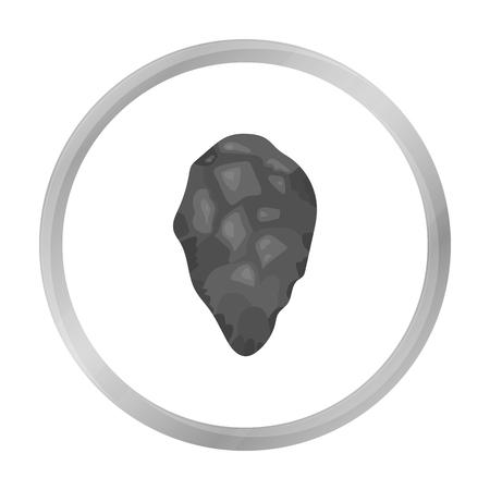 habilis: Stone tool icon in monochrome style isolated on white background. Stone age symbol stock vector illustration.