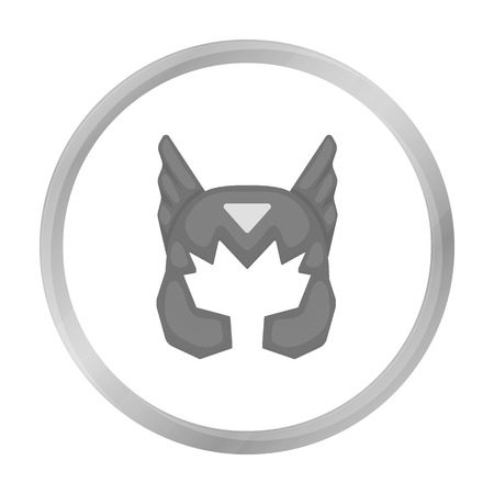 Superheros helmet icon in monochrome style isolated on white background. Superheros mask symbol stock vector illustration.