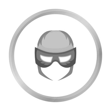 Full head mask icon in monochrome style isolated on white background. Superheros mask symbol stock vector illustration.