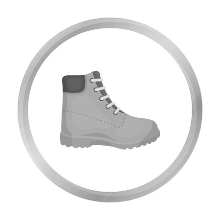 trecking: Hiking boots icon in monochrome style isolated on white background. Shoes symbol stock vector illustration. Illustration