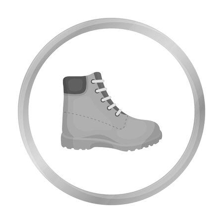 Icono de botas de senderismo en estilo monocromo aislado sobre fondo blanco. Zapatos símbolo stock ilustración vectorial.