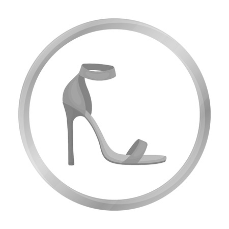 clogs: Ankle straps icon in monochrome style isolated on white background. Shoes symbol stock vector illustration. Illustration