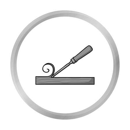 carver: Chisel icon in monochrome style isolated on white background. Sawmill and timber symbol stock vector illustration.