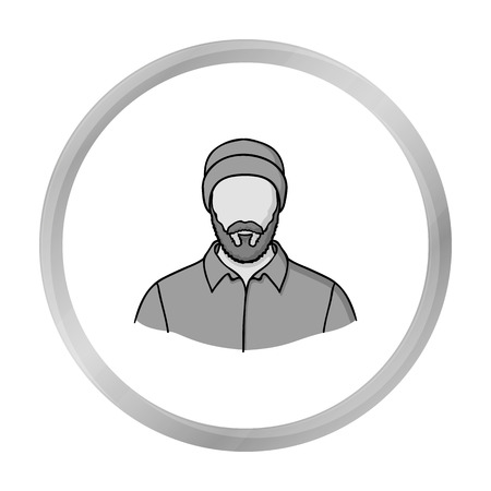 Lumberjack icon in monochrome style isolated on white background. Sawmill and timber symbol stock vector illustration. Illustration
