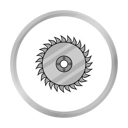 Saw disc icoon in zwart-wit stijl op een witte achtergrond. Zagerij en hout symbool stock vector illustratie.