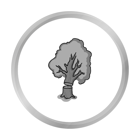 Falling tree icon in monochrome style isolated on white background. Sawmill and timber symbol stock vector illustration. Illustration