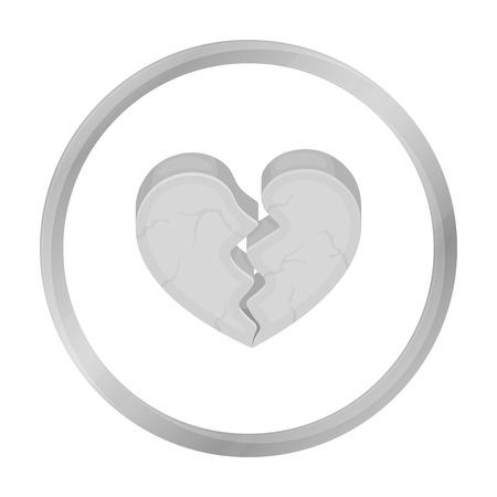 heartbreak: Heart icon in monochrome style isolated on white background. Romantic symbol stock vector illustration. Illustration