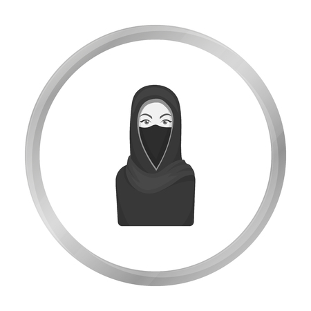 niqab: Niqab icon in monochrome style isolated on white background. Religion symbol stock vector illustration.