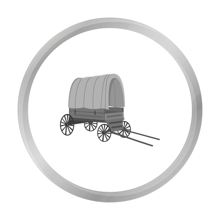 chuck: Cowboy wagon icon monochrome. Singe western icon from the wild west monochrome. Illustration