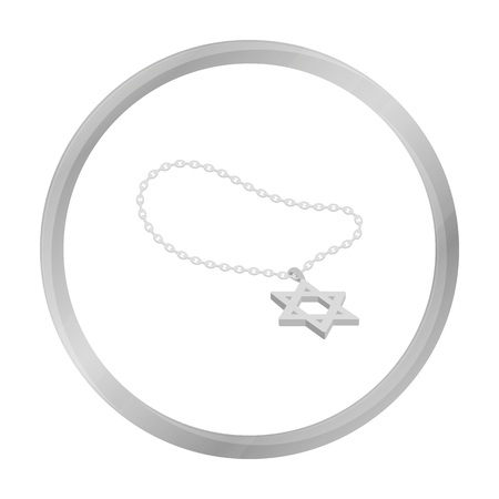 lavaliere: Star of David icon in monochrome style isolated on white background. Religion symbol stock vector illustration.