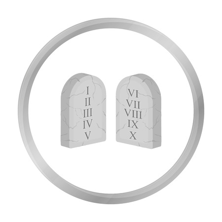 Ten Commandments icon in monochrome style isolated on white background. Religion symbol stock vector illustration.