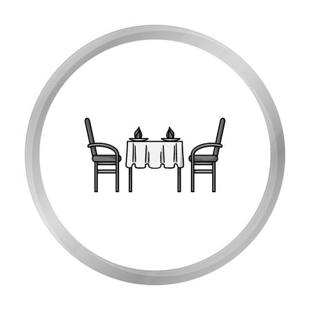 restaurant table: Restaurant table icon in monochrome style isolated on white background. Restaurant symbol stock vector illustration.
