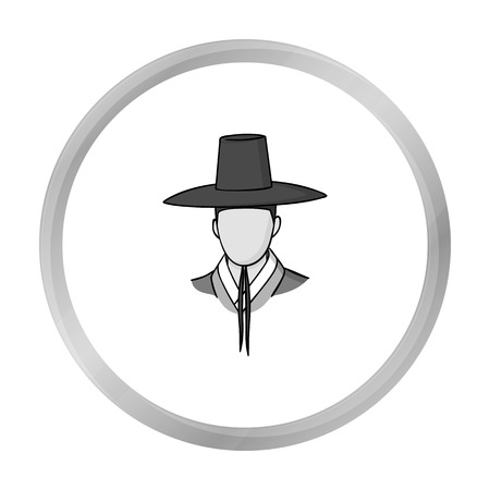 old times: Traditional korean hat icon in monochrome style isolated on white background. South Korea symbol stock vector illustration.