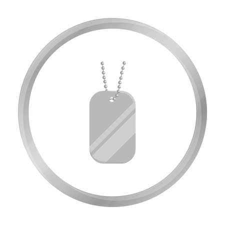 metal monochrome: Metal tags hanging on a chain icon monochrome. Single weapon icon from the big ammunition, arms set.