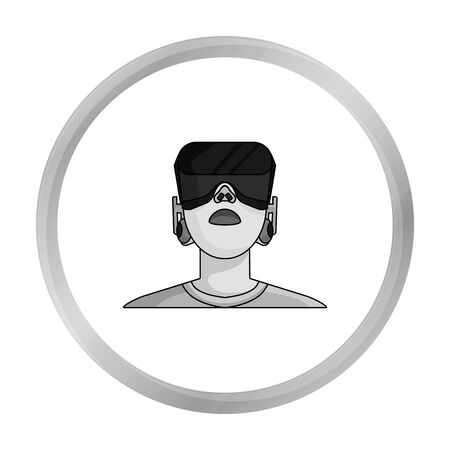cyber woman: Player with virtual reality headmonochrome icon in monochrome style isolated on white background. Virtual reality symbol stock vector illustration. Illustration