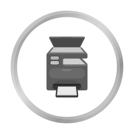 Multi-function printer in monochrome style isolated on white background. Typography symbol stock vector illustration.